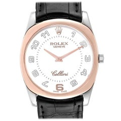 Rolex Cellini Danaos 18 Karat White Rose Gold Black Strap Men's Watch 4233