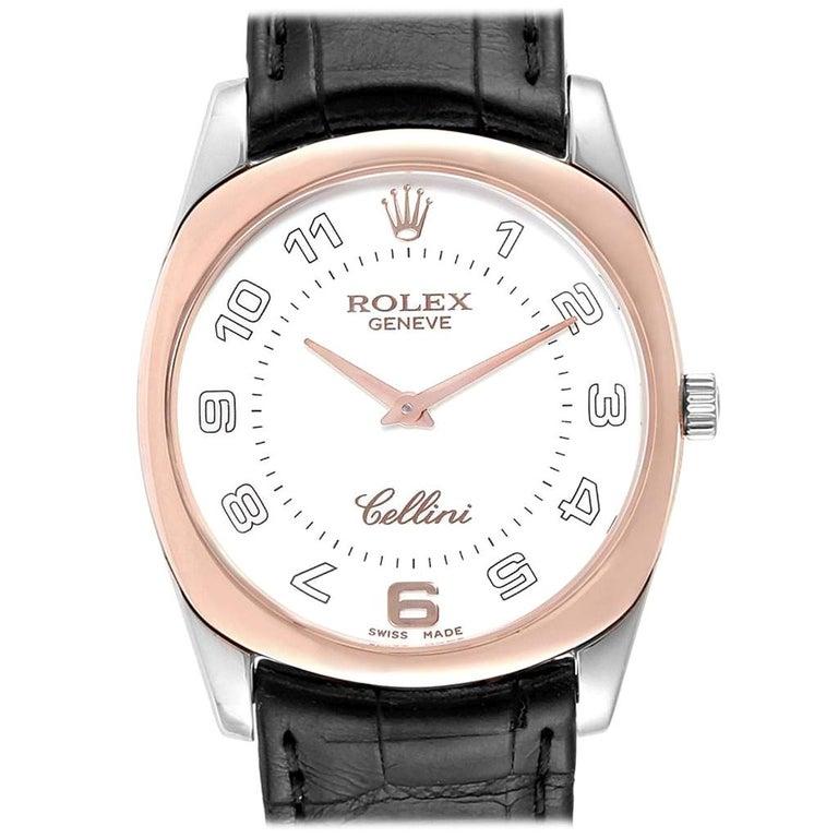 Rolex Cellini Danaos 18 Karat White Rose Gold Black Strap Men's Watch 4233 For Sale