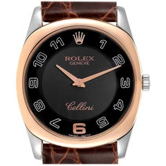 Rolex Cellini Danaos White and Rose Gold Brown Strap Men's Watch 4233