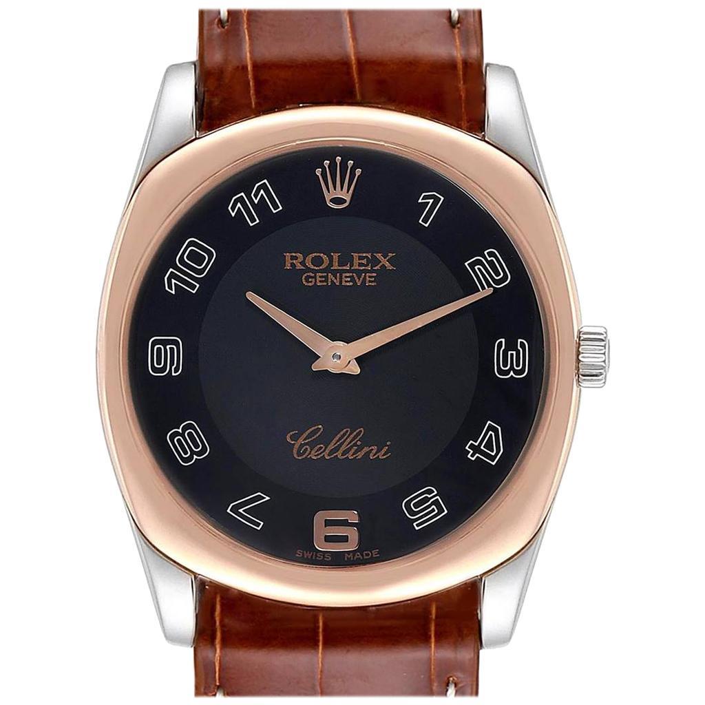 Rolex Cellini Danaos White and Rose Gold Brown Strap Men's Watch 4233
