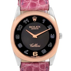Rolex Cellini Danaos White Rose Gold Pink Strap Watch 4233 Box Papers