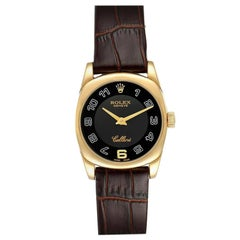 Rolex Cellini Danaos Yellow Gold Black Dial Ladies Watch 6229