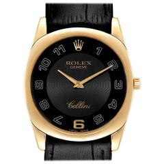 Rolex Cellini Danaos Yellow Gold Black Dial Men's Watch 4233 Papers