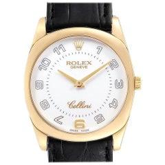 Rolex Cellini Danaos Yellow Gold Black Strap Men's Watch 4233