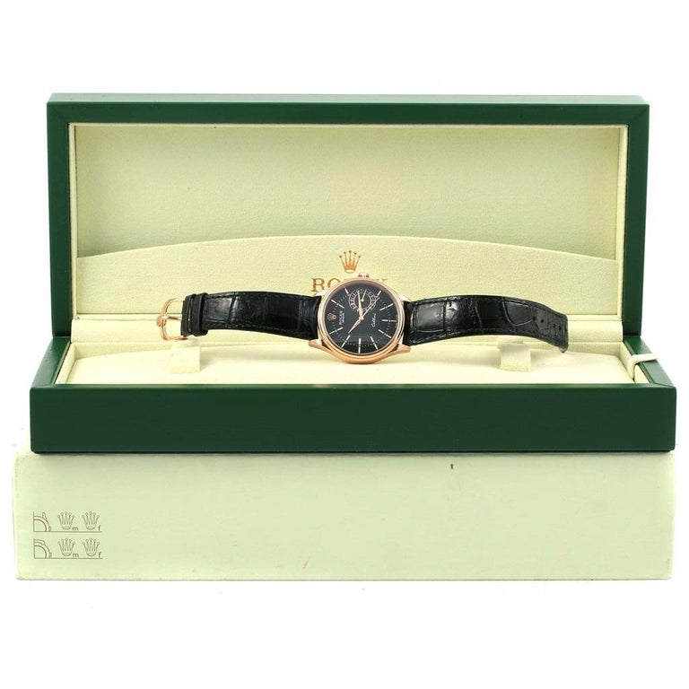 Rolex Cellini Date 18 Karat Everose Gold Automatic Men's Watch 50515 Unworn For Sale 9