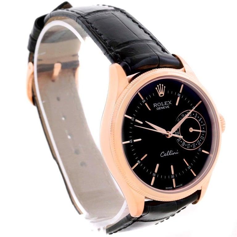 Men's Rolex Cellini Date 18 Karat Everose Gold Automatic Men's Watch 50515 Unworn For Sale