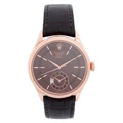 Rolex Cellini Dual Time 18 Karat Rose Gold Men's Watch