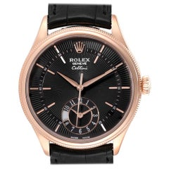 Rolex Cellini Dual Time Everose Rose Gold Automatic Men's Watch 50525