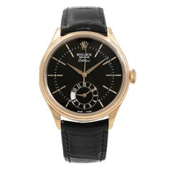 Rolex Cellini Dual Time Rose Gold Guilloche Dial Automatic Men's Watch 50525