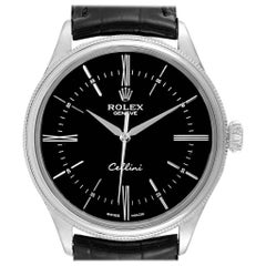 Rolex Cellini Dual Time White Gold Black Dial Men's Watch 50509 Box card