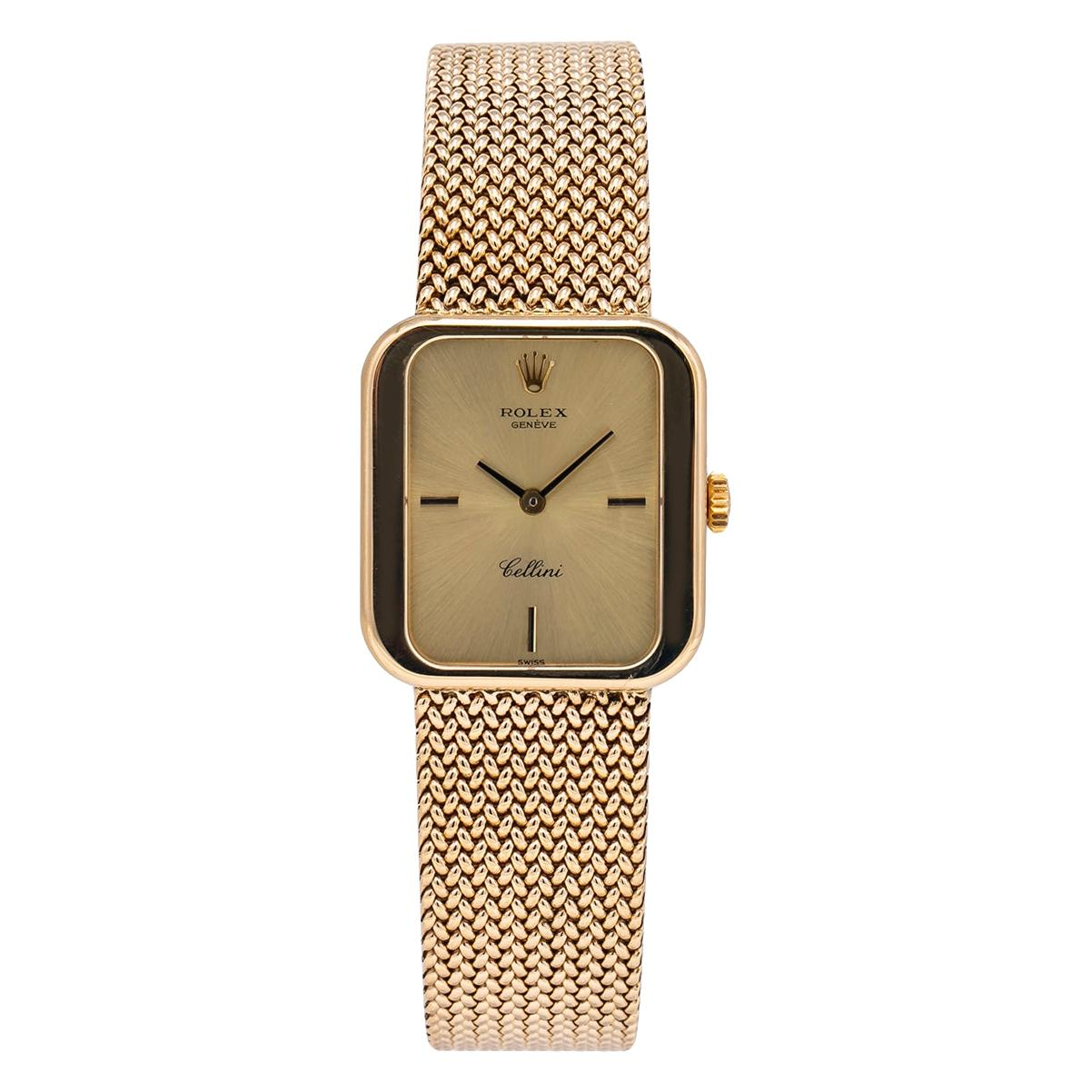 Rolex Cellini Geneve 4335 Vintage 18K Gold Manual Wind Square Lady's Watch 1975