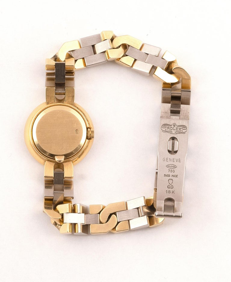 Retro Rolex Cellini Ladies Bicolored 18kt Yellow Gold & Diamond Wristwatch For Sale