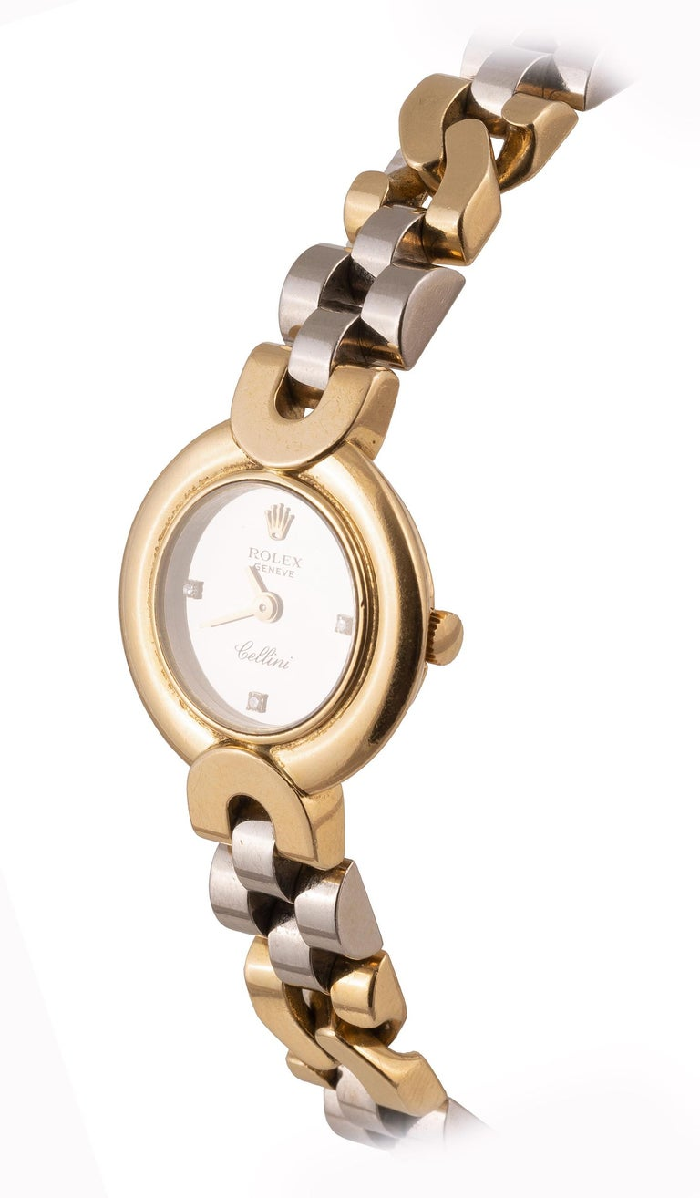 Brilliant Cut Rolex Cellini Ladies Bicolored 18kt Yellow Gold & Diamond Wristwatch For Sale