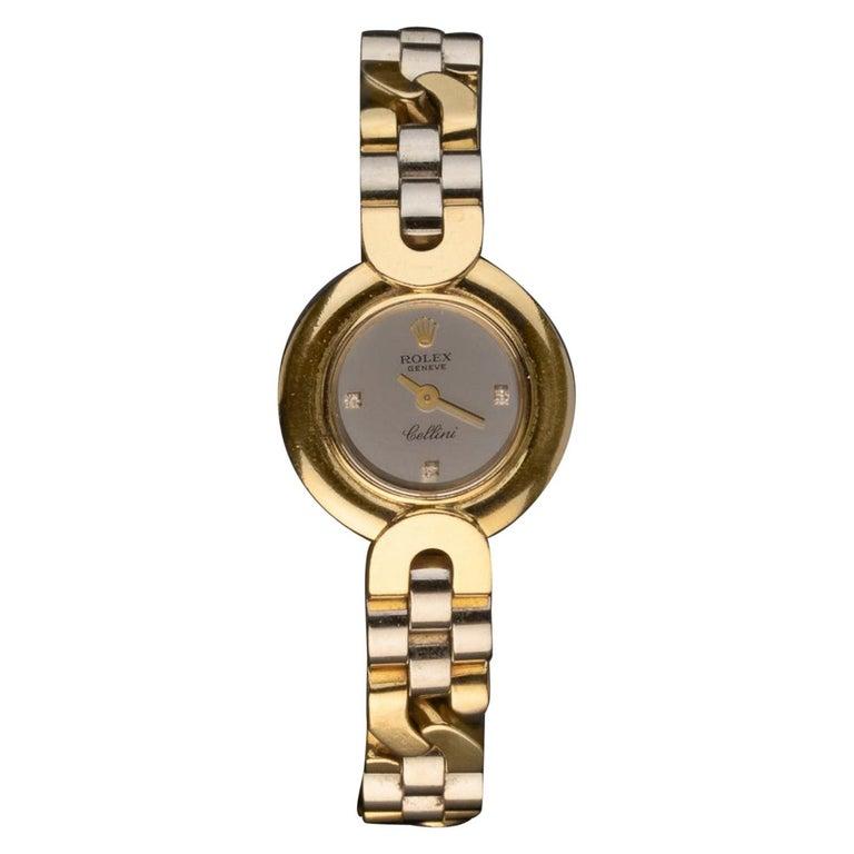 Rolex Cellini Ladies Bicolored 18kt Yellow Gold & Diamond Wristwatch For Sale