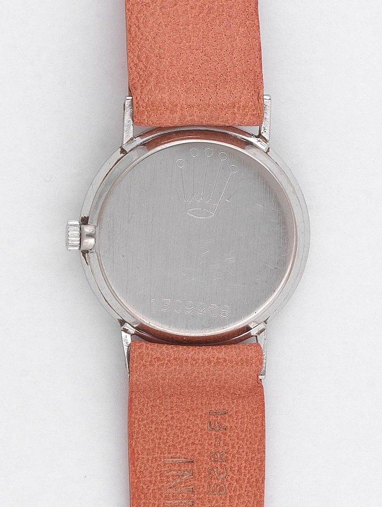 Retro Rolex Cellini Ladies 18 Karat White Gold Manual Wind Wristwatch For Sale