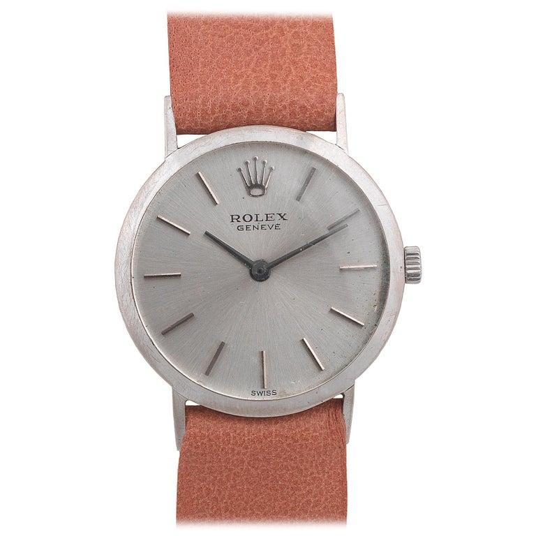 Rolex Cellini Ladies 18 Karat White Gold Manual Wind Wristwatch For Sale
