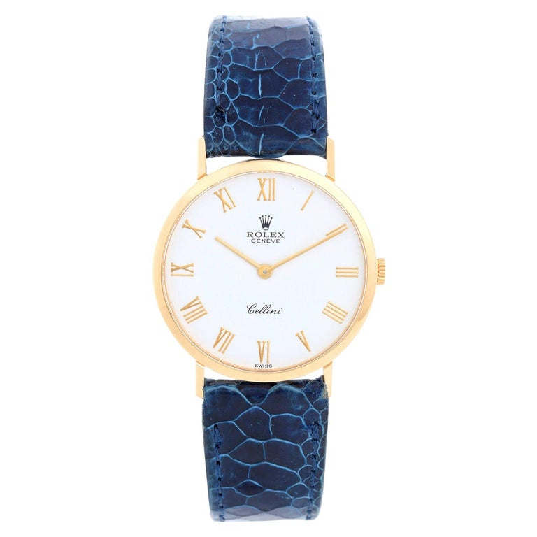 Rolex Cellini Men's 18k Yellow Gold Watch on Strap Band Mod. 4112