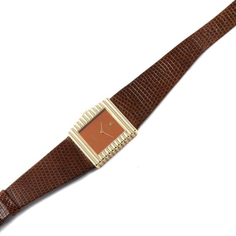 Rolex Cellini Midas Yellow Gold Orange Mirror Dial Vintage Watch 4017 6