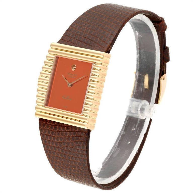 Rolex Cellini Midas Yellow Gold Orange Mirror Dial Vintage Watch 4017 In Good Condition In Atlanta, GA