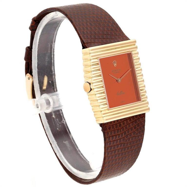 Men's Rolex Cellini Midas Yellow Gold Orange Mirror Dial Vintage Watch 4017