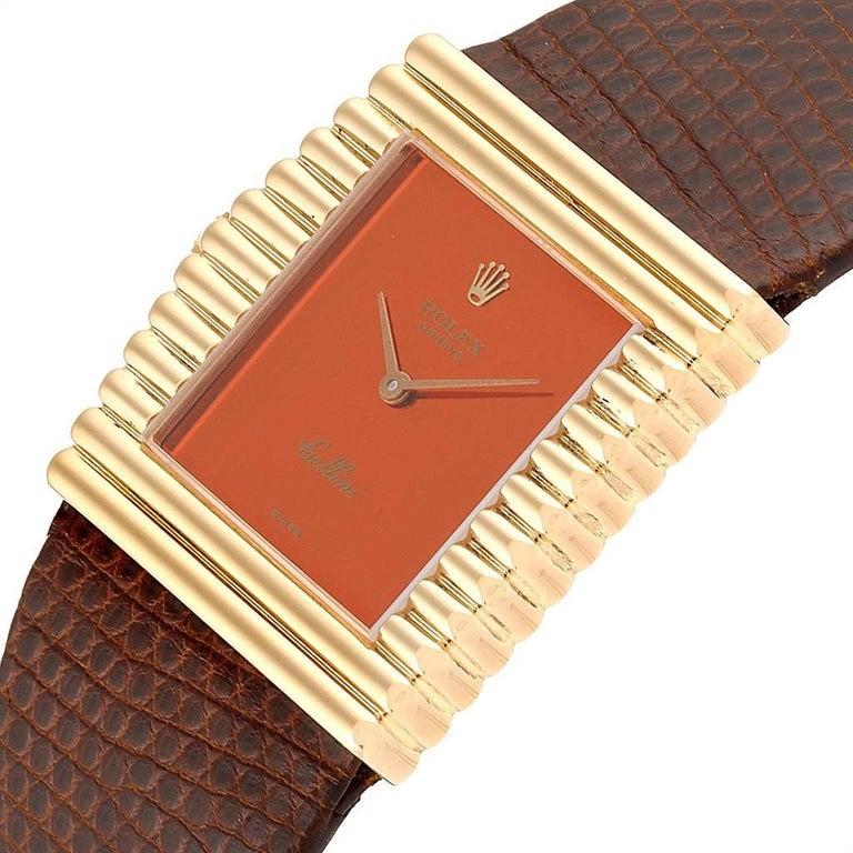 Rolex Cellini Midas Yellow Gold Orange Mirror Dial Vintage Watch 4017 1
