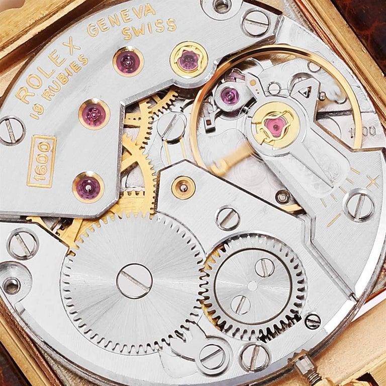 Rolex Cellini Midas Yellow Gold Orange Mirror Dial Vintage Watch 4017 3