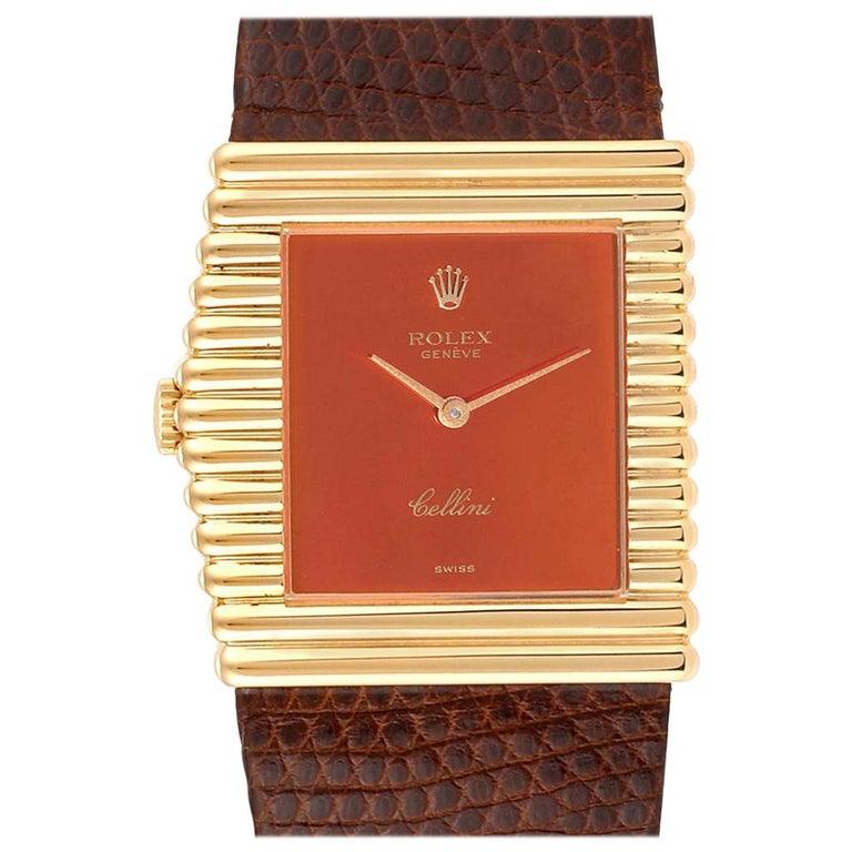 Rolex Cellini Midas Yellow Gold Orange Mirror Dial Vintage Watch 4017