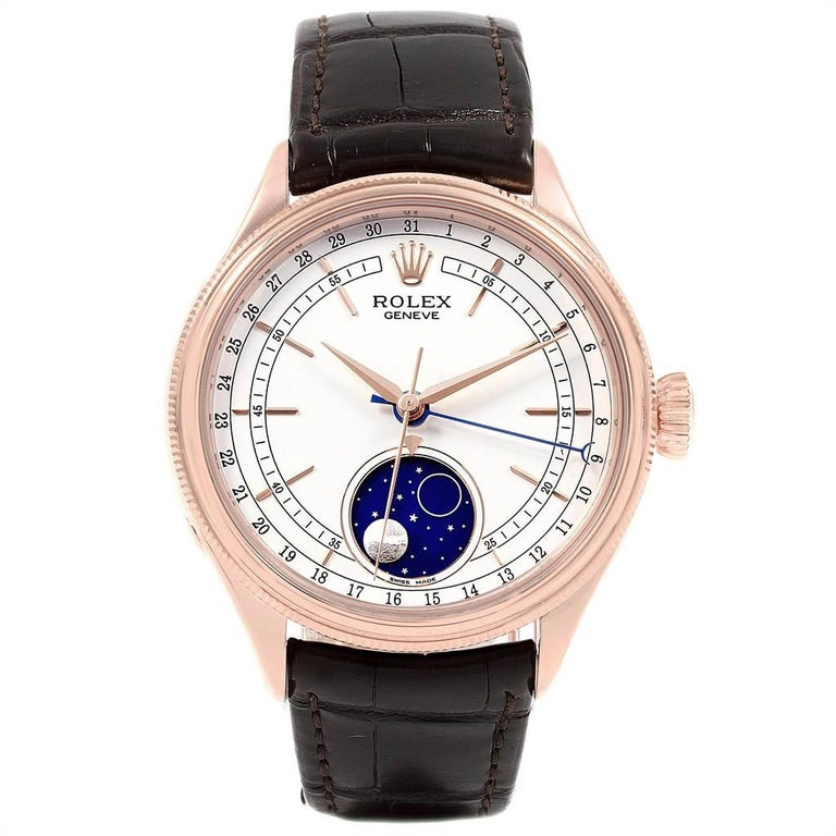 Rolex Cellini Moonphase Everose Rose Gold Automatic Mens Watch 50535. Automatic self-winding movement. Officially certified Swiss chronometer (COSC). Paramagnetic blue Parachrom hairspring. Bidirectional self-winding via Perpetual rotor. 18K rose