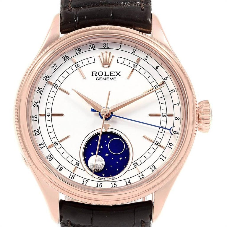Rolex Cellini Moonphase Everose Rose Gold Automatic Men's Watch 50535 In Excellent Condition For Sale In Atlanta, GA