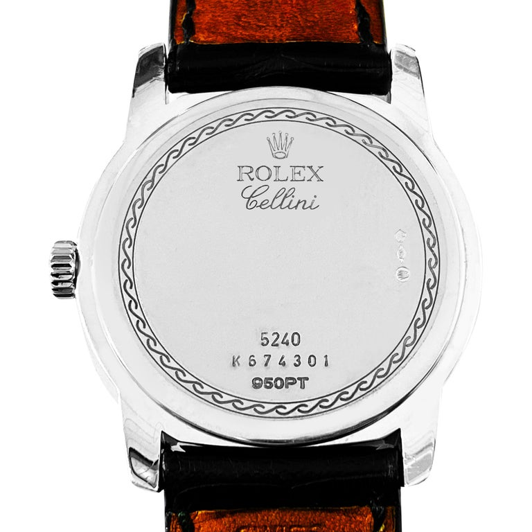 Rolex Cellini Platinum Men's Watch 5240 Mother of Pearl Dial In Excellent Condition For Sale In Miami, FL