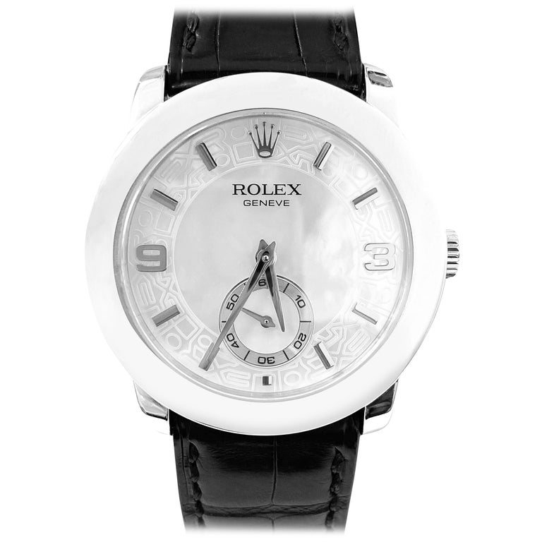 Rolex Cellini Platinum Men's Watch 5240 Mother of Pearl Dial For Sale