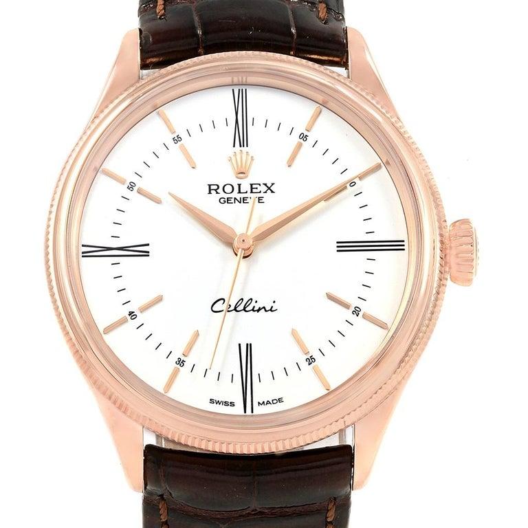 rolex cellini time 18 karat eve rose gold white dial men s. Black Bedroom Furniture Sets. Home Design Ideas
