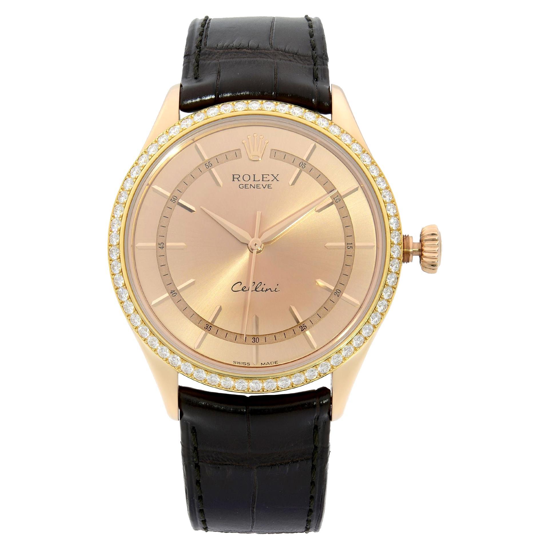 Rolex Cellini Time 18K Everose Gold Diamond Bezel Pink Dial Men's Watch 50705RBR