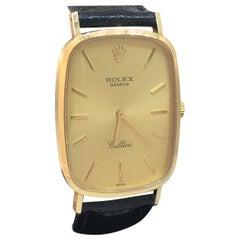 Rolex Cellini Vintage 18 Karat Yellow Gold Black Leather Band Men's Watch 4113