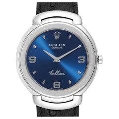 Rolex Cellini White Gold Blue Dial Black Strap Men's Watch 6623