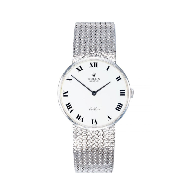 Rolex Ladies Cellini White Gold White Dial Mesh Wristwatch For Sale 2
