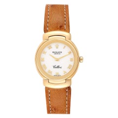 Rolex Cellini Yellow Gold Brown Strap Ladies Watch 6621 Box Papers