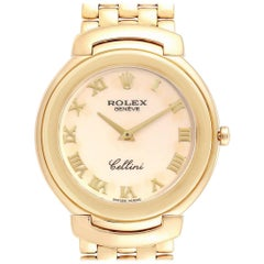 Rolex Cellini Yellow Gold Ivory Roman Dial Men's Watch 6623 Box Papers
