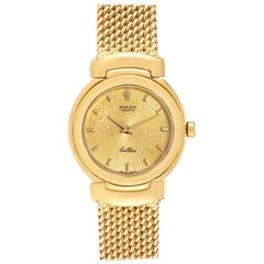 Rolex Cellini Yellow Gold Mesh Bracelet Ladies Watch 6621 Box Papers