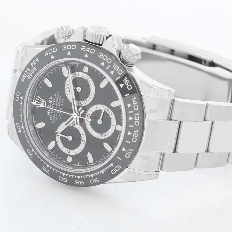 Rolex Ceramic Black dial Cosmograph Daytona 116500 LN - Automatic winding. Stainless Steel (40mm) with ceramic bezel. Gloss black dial with thered Daytona script above the 6:00 o'clock sub dial. Stainless steel Oyster  clasp. Unused with box and