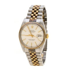 Rolex Champagne 18K Yellow Gold Datejust 16013 Men's Wristwatch  35 mm