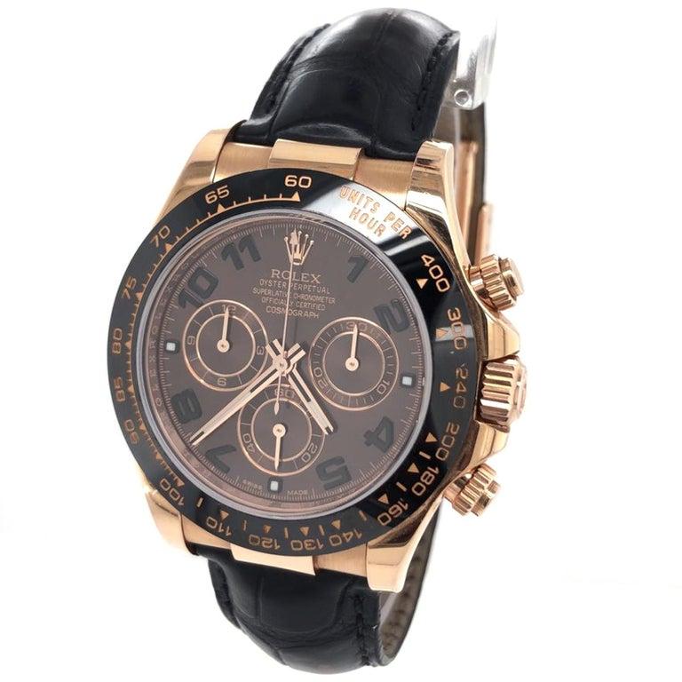 Modernist Rolex Cosmograph Daytona 18kt Everose Gold Ceramic Chronograph Croc Strap For Sale