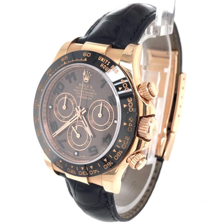 Rolex Cosmograph Daytona 18kt Everose Gold Ceramic Chronograph Croc Strap In Excellent Condition For Sale In Aventura, FL