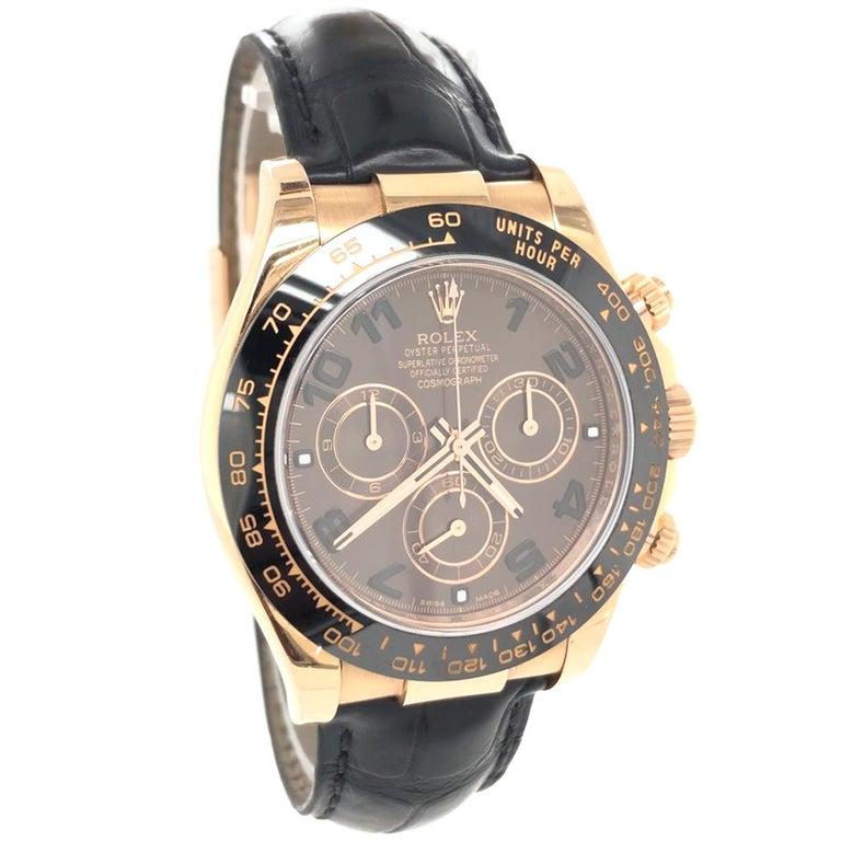 Women's or Men's Rolex Cosmograph Daytona 18kt Everose Gold Ceramic Chronograph Croc Strap For Sale