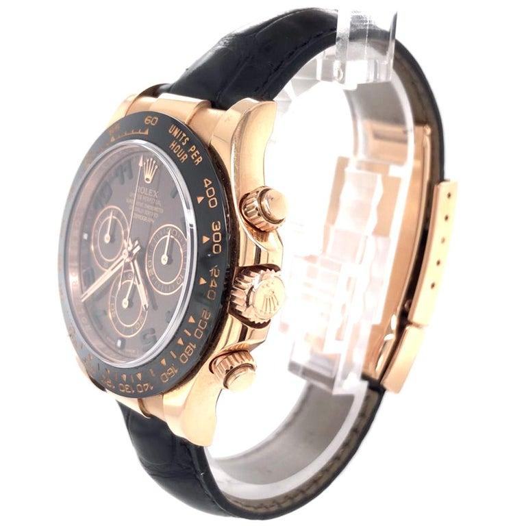 Rolex Cosmograph Daytona 18kt Everose Gold Ceramic Chronograph Croc Strap For Sale 1