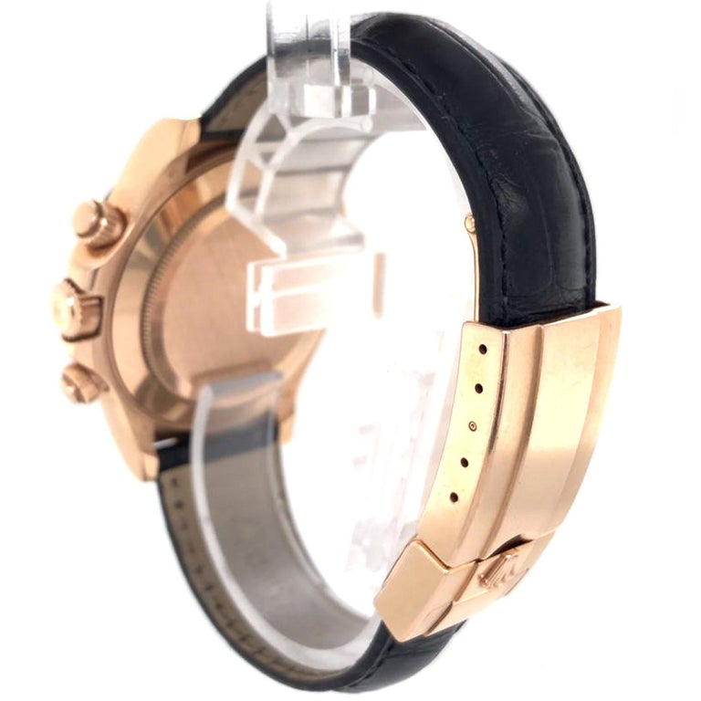 Rolex Cosmograph Daytona 18kt Everose Gold Ceramic Chronograph Croc Strap For Sale 2