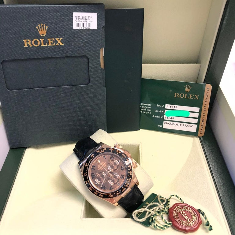 Rolex Cosmograph Daytona 18kt Everose Gold Ceramic Chronograph Croc Strap For Sale 4
