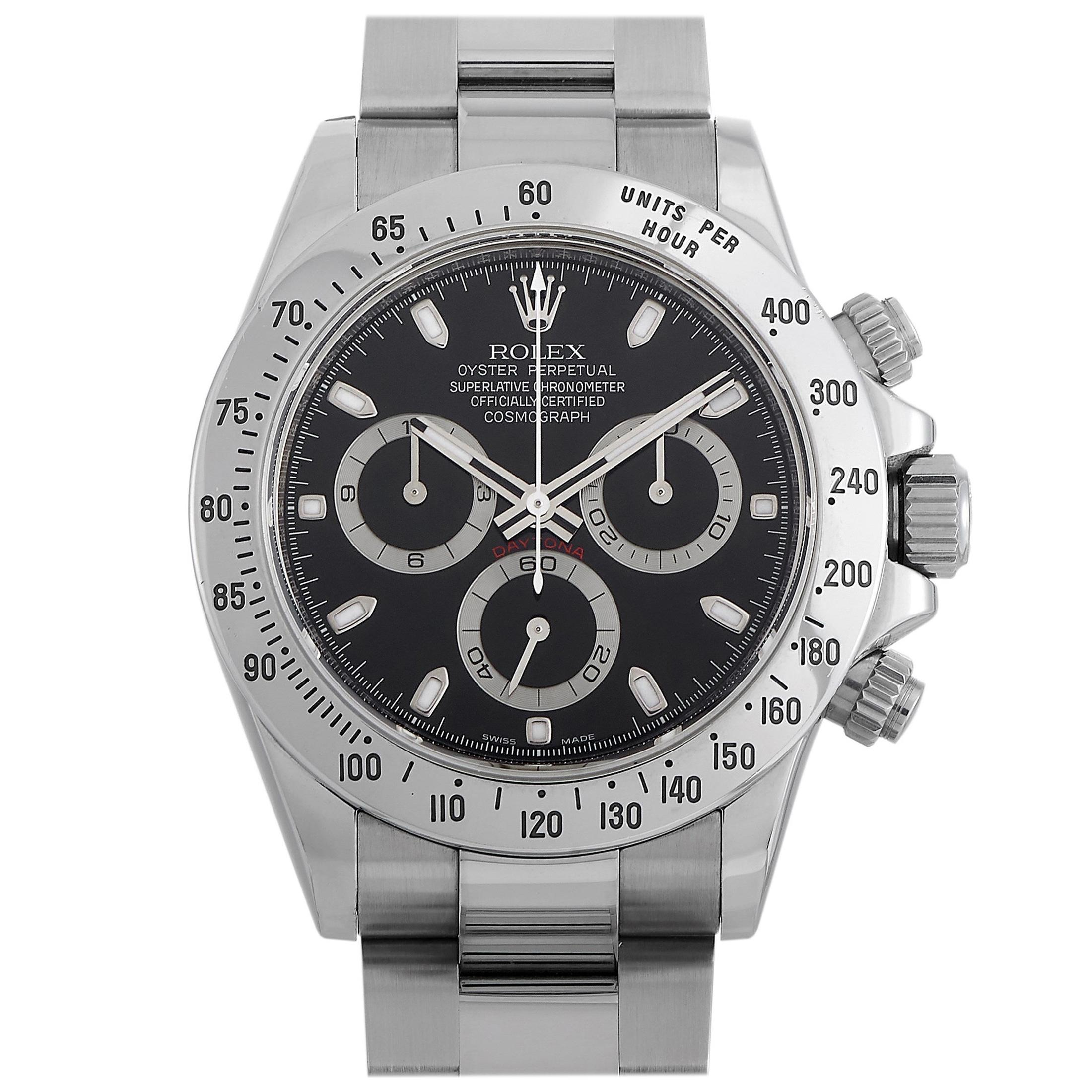 Rolex Cosmograph Daytona Black Stainless Steel Watch 116520