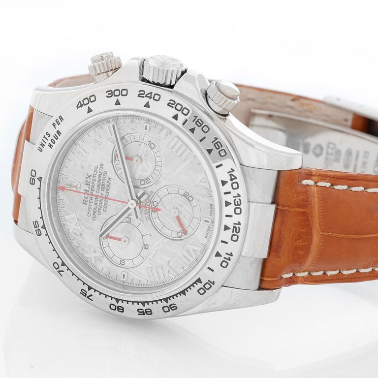 Rolex Cosmograph Daytona Men's White Gold  116519 - Automatic winding, chronograph, 44 jewels, sapphire crystal. 18k white gold case and bezel. Factory Meteorite Diamond Dial. Strap with Rolex 18k white gold deployant clasp. Pre-owned with Rolex box