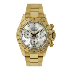 Rolex Cosmograph Daytona Mother of Pearl 18 Karat Yellow Gold Watch 116528